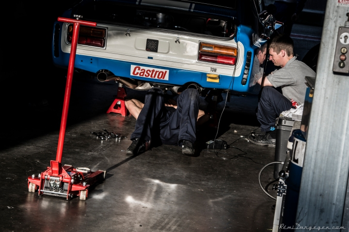The SHR boys at work on the Ex Klaus Ludwig Ford Capri.