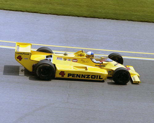Johnny Rutherford at speed during the Indy 500.