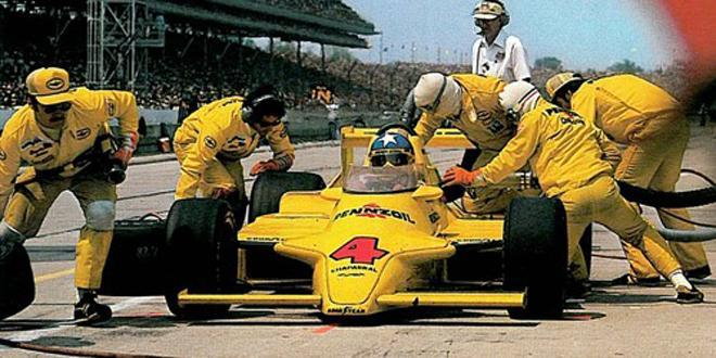 Pit-stop and refuelling during the 1980 Indy 500.