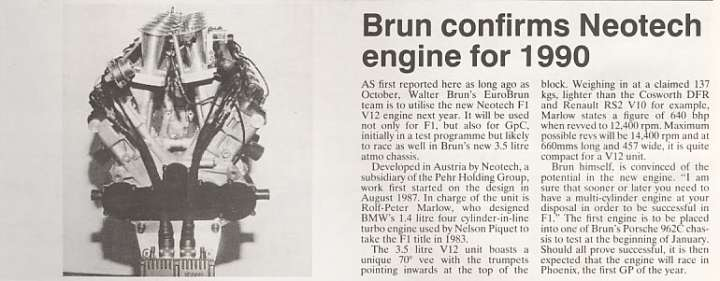Period article about the Neotech engine and the partnership with EuroBrun and the Group C/WSC activities.