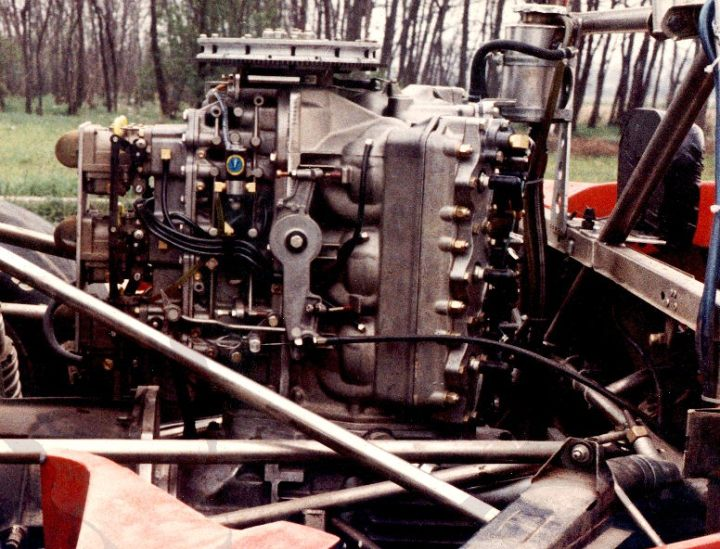 The engine in situ.