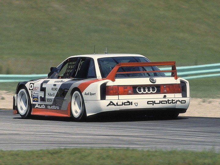 The 1989 Audi IMSA GTO at speed.