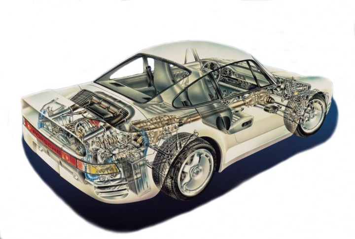 Porsche 959 cutaway.