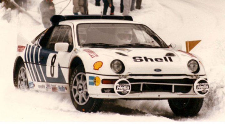 The RS200 in racing trim during the 1986 Swedish round of the WRC.