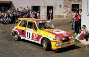 "Didier Auriol and the R5 ""Maxi"" Turbo in action."