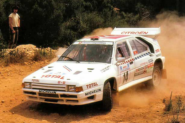 """The """"Evolution"""" version again during the 1986 Acropolis Rally, J.C.Andruet and navigator A.Peuvergne."""
