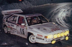 """The """"Evolution"""" version during the 1986 Monte Carlo Rally, J.C.Andruet and navigator A.Peuvergne."""