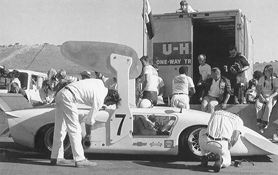 "The ""White Wale"" in the Laguna Seca pit lane."