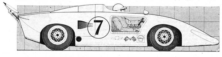 Early form of the car now modified with the open cockpit for John Surtees.