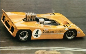 Bruce McLaren ant the M8 at speed.