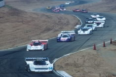 1987, Riverside with Al Holbert leading the GTP and Porsche 962 packed field.