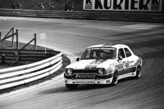 The 1974 Division 1 Ford Escort RS1600 of Heyer and Kautz at speed.