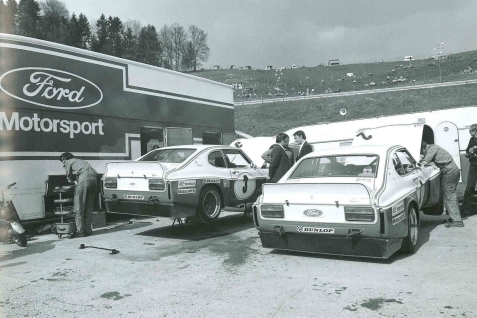 The 1974 Cologne GA Capri in early trim, note the whole cooling unit under the boot. © Sportfahrer Verlag/Automobilsport, Ferdi Kräling, Helmut Wenz