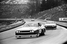The 1974 Cologne GA Capri, the Hezemans/Glemser car leading the Mass/Lauda car at the ETCC Salzburgring round.