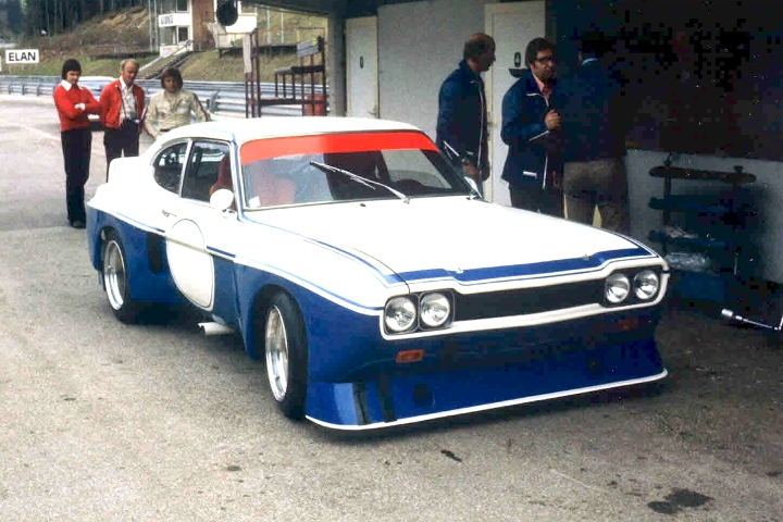 The 1974 Cologne GA Capri in early trim, small rear wheel arches intake for cooling duties.