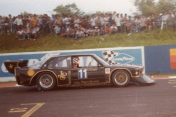 "1985 and Roberto Ravaglia on track with the BMW 320 Group 5 ""Extreme""."