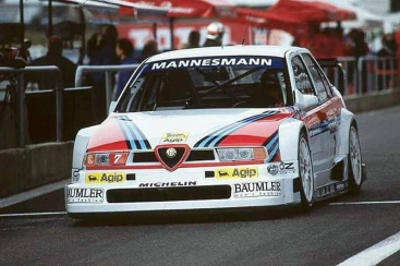 Larini leaving the Magny-Cours pitlane.