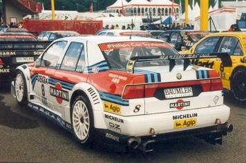 The Larini Martini Racing Alfa Corse car in the Mugello Parc Fermé.