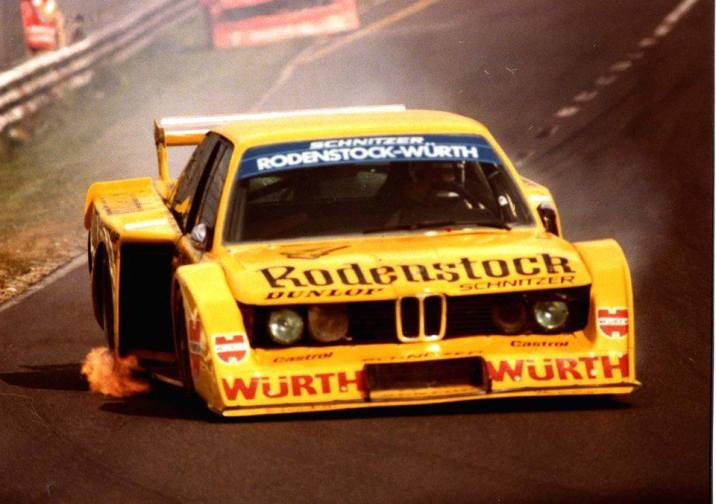 "Winkelhock and the 1979 320 Group 5 ""Extreme"" at speed during that Nürburgring race."