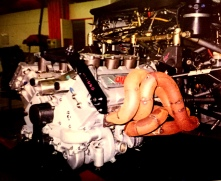 The 1996 90° 690RC engine during installation and exhaust mock up.